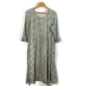 Dolma Gray Floral Cotton Baby Doll Midi Dress M